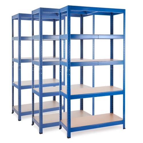 3 x Multipurpose Commercial Shelving - Blue - Up to 250Kg UDL Per Shelf - H1800 x W900 x D400 mm