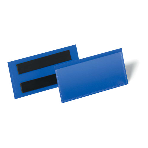 Blue Magnetic Shelf Label Holder/Document Pouch - Pack of 10
