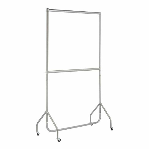 2-Tier Silver Heavy-Duty Clothes Rail - 4ft