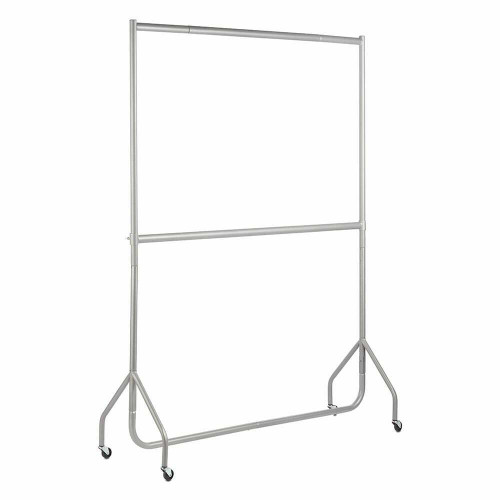 2-Tier Silver Heavy-Duty Clothes Rail - 5ft