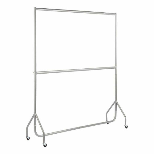 2-Tier Silver Heavy-Duty Clothes Rail - 6ft