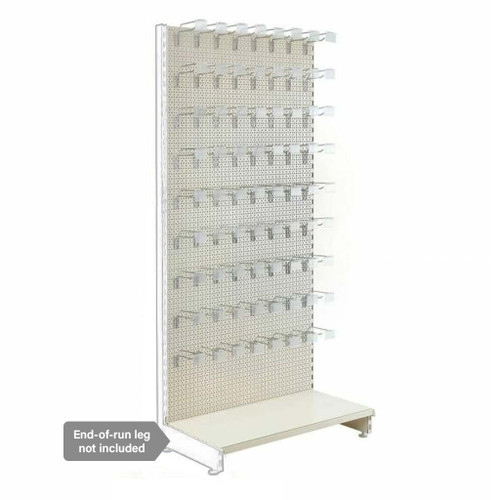 Jura White Modular Retail Shelving Unit  - Perforated Panels and Single Hooks - H2100 x W1000mm