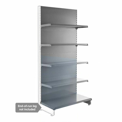 Silver Retail Shelving Modular Wall Unit - 4 x 370mm Shelves - H2100mm