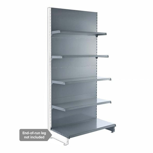 Silver Retail Shelving Modular Wall Unit - 4 x Staggered Shelves - H2100mm