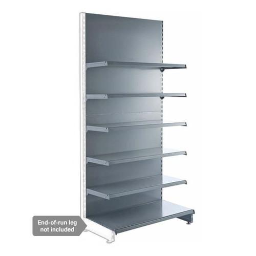 Silver Retail Shelving Modular Wall Unit - 5 x 370mm Shelves - H2100mm