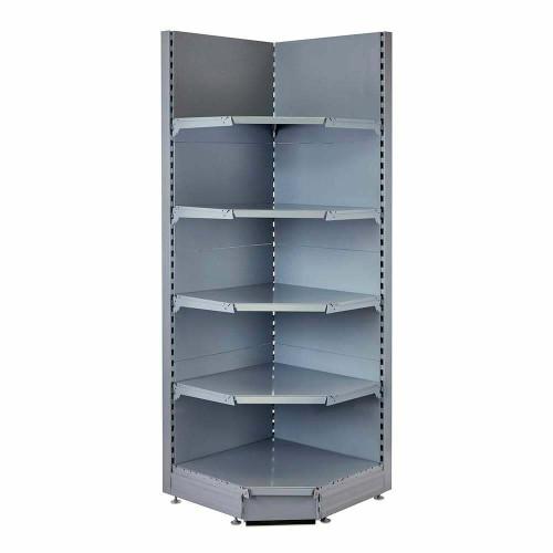 Silver Retail Shelving 90 Deg. Wall Corner Unit - 4 x 370mm Shelves - H2100mm