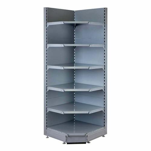 Silver Retail Shelving 90 Deg. Wall Corner Unit - 5 x 370mm Shelves - H2100mm