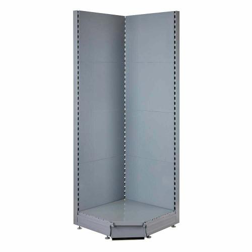 Silver Retail Shelving 90 Deg. Wall Corner Unit - Base Shelf Only - W750mm - H2100mm