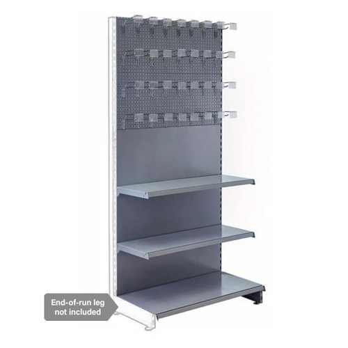 Silver Retail Shelving Modular Wall Unit - Perforated Back Panels - 2 Shelves and 32 Hooks - H2100mm