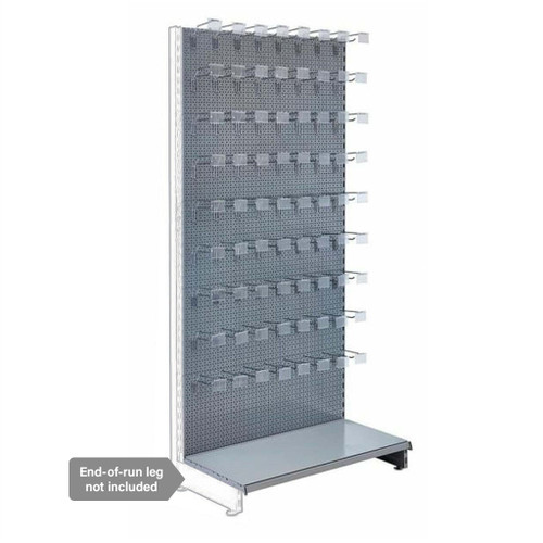 Silver Retail Shelving Modular Wall Unit - Perforated Back Panels and Single Arms Hooks - 1000mm - H2100mm