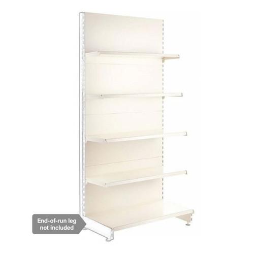 Jura White Retail Shelving Modular Wall Unit - 4 x Staggered Shelves - H2100mm