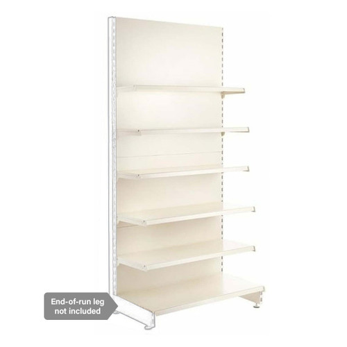 Jura White Retail Shelving Modular Wall Unit - 5 x Staggered Shelves - H2100mm