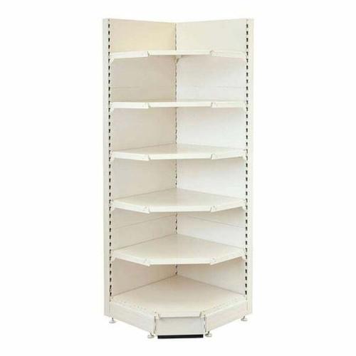 Jura White Retail Shelving 90 Deg. Wall Corner Unit - 4 x 370mm Shelves - H2100mm