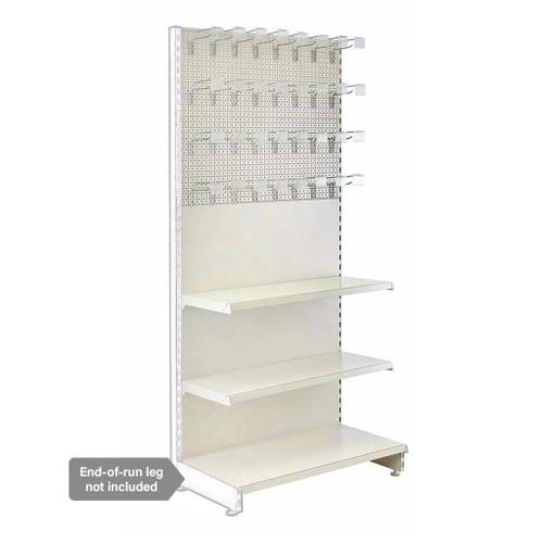 Jura White Retail Shelving Modular Wall Unit - Perforated Back Panels - 2 Shelves and 32 Hooks - H2100mm