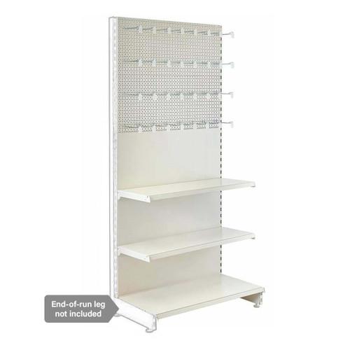 Jura White Retail Shelving Modular Wall Unit - Perforated Back Panels - 2 Shelves and 32 Euro Hooks - H2100mm
