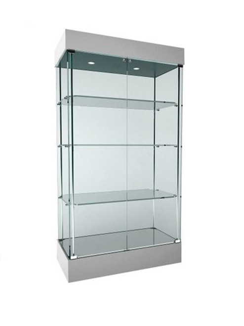 Skyline 360 Frameless Tower  Showcase All-Glass Display with 3 Glass Shelves - Double Door
