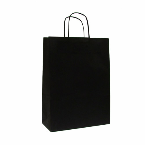 Box of 200 Black Large Paper Carrier Bags