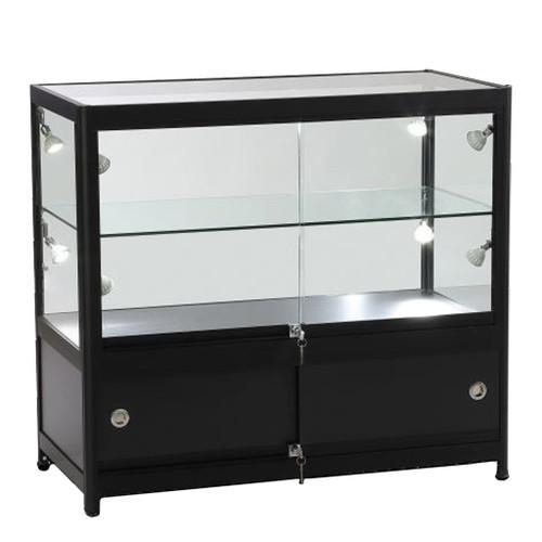Skyline Slim Black Showcase with 2/3 Glass Display and Storage Cupboard
