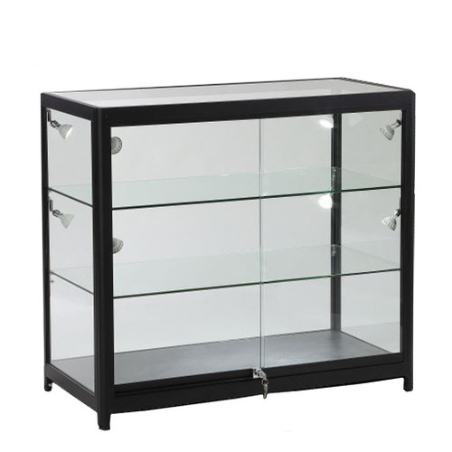 Skyline Slim Black Showcase All-Glass Display with 2 Glass Shelves