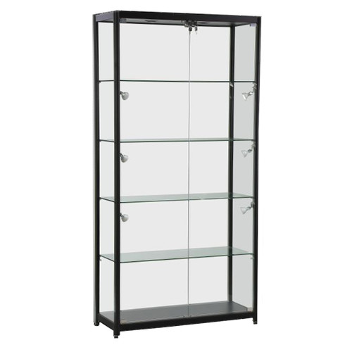 Skyline Black Tower Showcase All - Glass Display with 4 Glass Shelves - Double Door