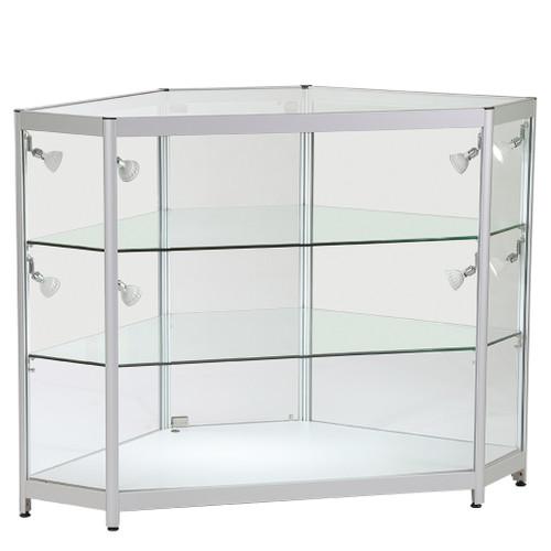 Skyline Corner Showcase All - Glass Display with 2 Glass Shelves
