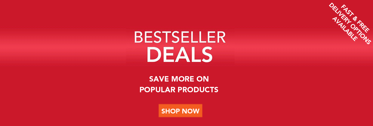 A red gradient square with the text 'Bestseller deals, save more on products, fast & free delivery options available.' Followed with an orange button that says 'Shop now!'