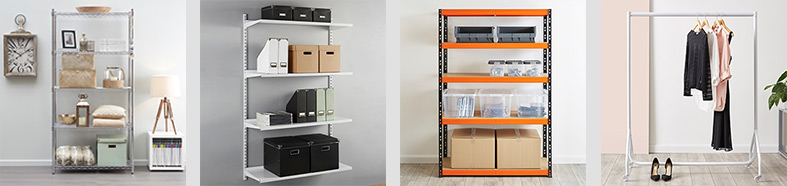 A series of different shelfs, filled with multiple products