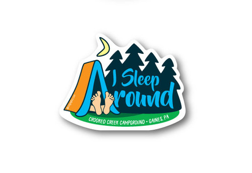 Wholesale Die Cut I Sleep Around Tent Sticker