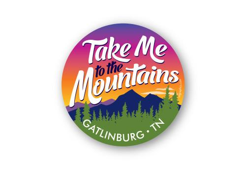 Wholesale Take Me to the Mountains Round Sticker
