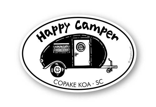 Wholesale Happy Camper 4x6 Sticker