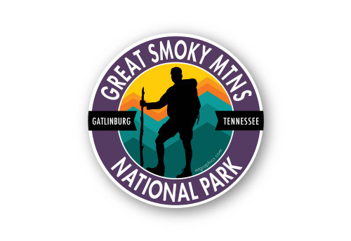"Great Smoky Mountains Hiker Sticker 4"" round"
