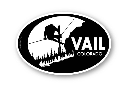 Vail Skier Sticker 4x6inch oval