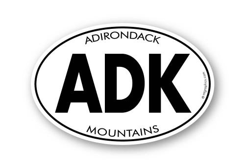 ADK Adirondack Mountains 4x6 inch oval sticker