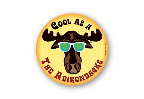 "Cool Moose Adirondacks 4"" round sticker"