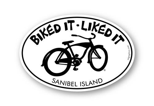 """Biked It Liked It Sanibel Island Sticker 4""""x6"""" oval"""
