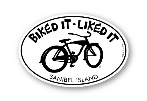"Biked It Liked It Sanibel Island Sticker 4""x6"" oval"