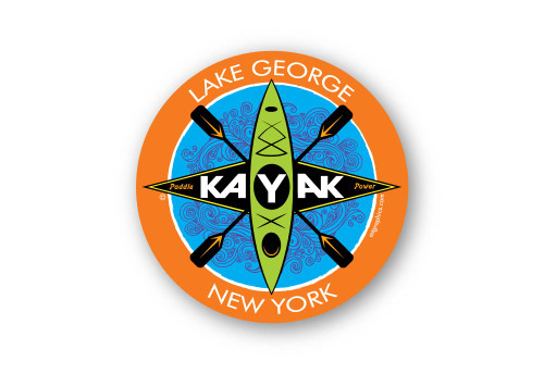 "Lake George Kayak Sticker 4"" round"