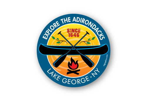 "Lake George Campfire Canoe Sticker 4"" round"