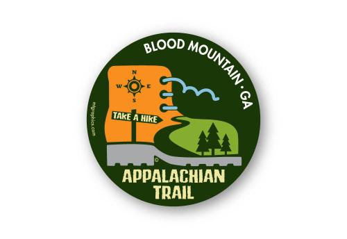 "Appalachian Trail Boot Sticker 4"" round"