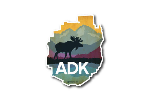 ADK Park Moose & Mountains Die Cut Sticker