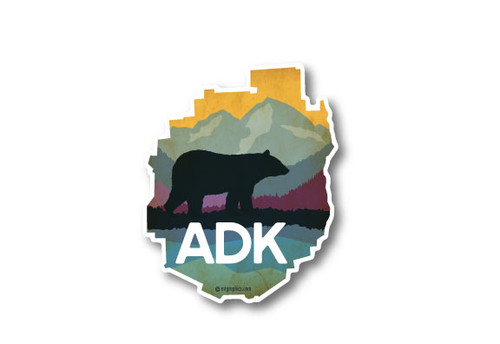 ADK Park Bear & Mountains Die Cut Sticker