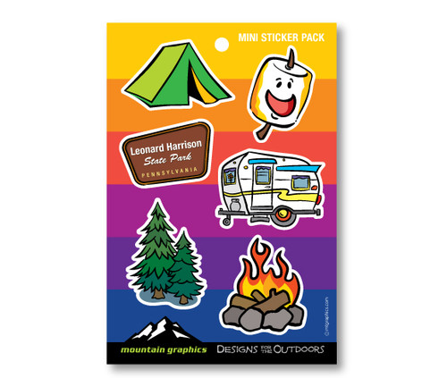 Camping Icon Die Cut Sticker Pack - Rainbow
