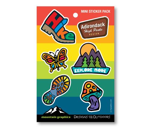Hiking Icon Die Cut Sticker Pack - Rainbow