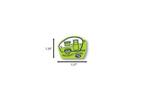 Green Camper Mini Die Cut Sticker