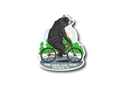 Biking Bear Die Cut Sticker