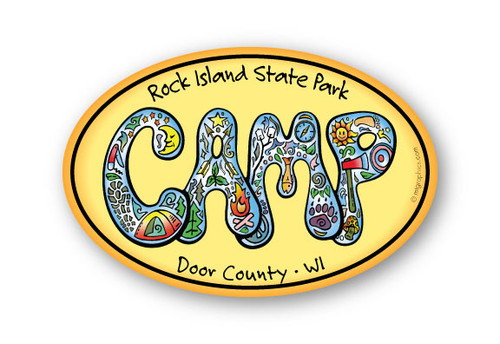 Wholesale Retro Camp Oval Sticker