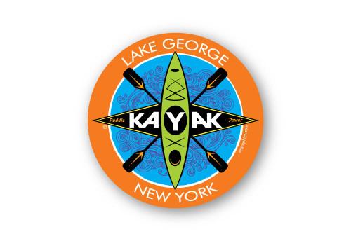"Kayak Emblem 4"" Round Vinyl Magnet"