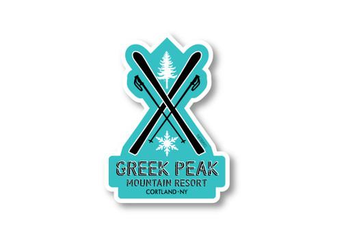 Crossed Skis Die Cut Sticker