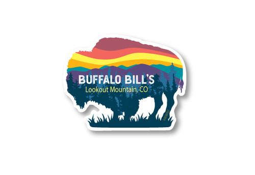 Wholesale Buffalo & Mountains Die Cut Sticker