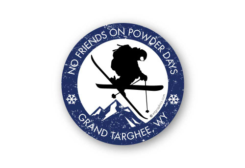 Wholesale No Friends on Powder Days Dark Blue Sticker
